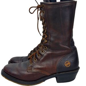 HH Double H Mens Lace Up Work Boots Dark Brown SZ 8.5